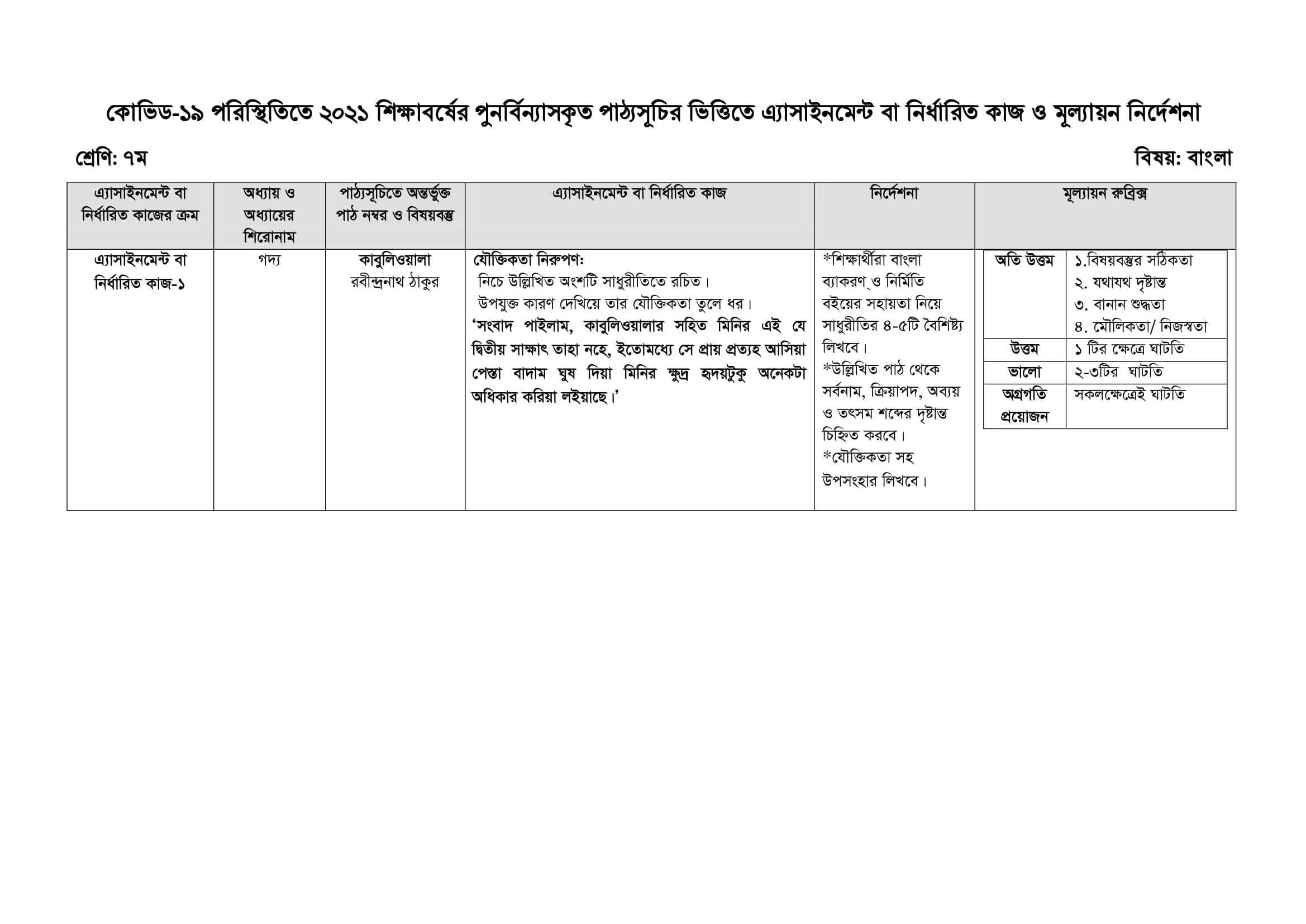 Class 7 Assignment Bangla 1st