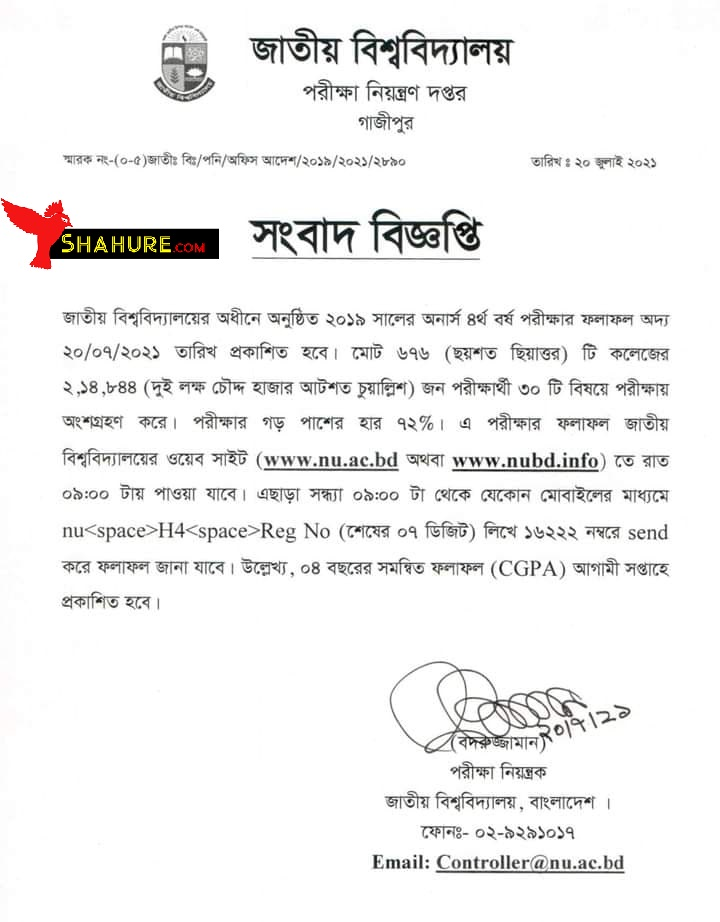 NU Honours 4th Result Notice