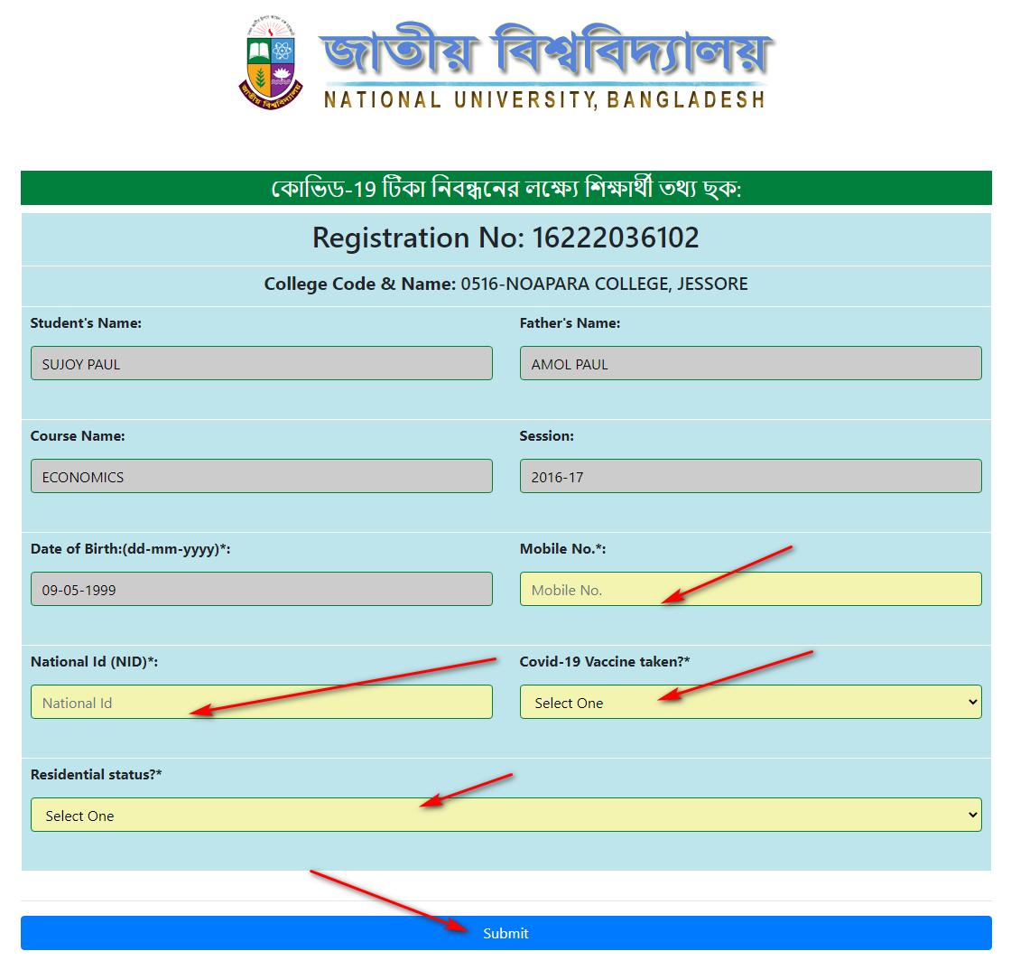 NU Corona Vaccine Registration
