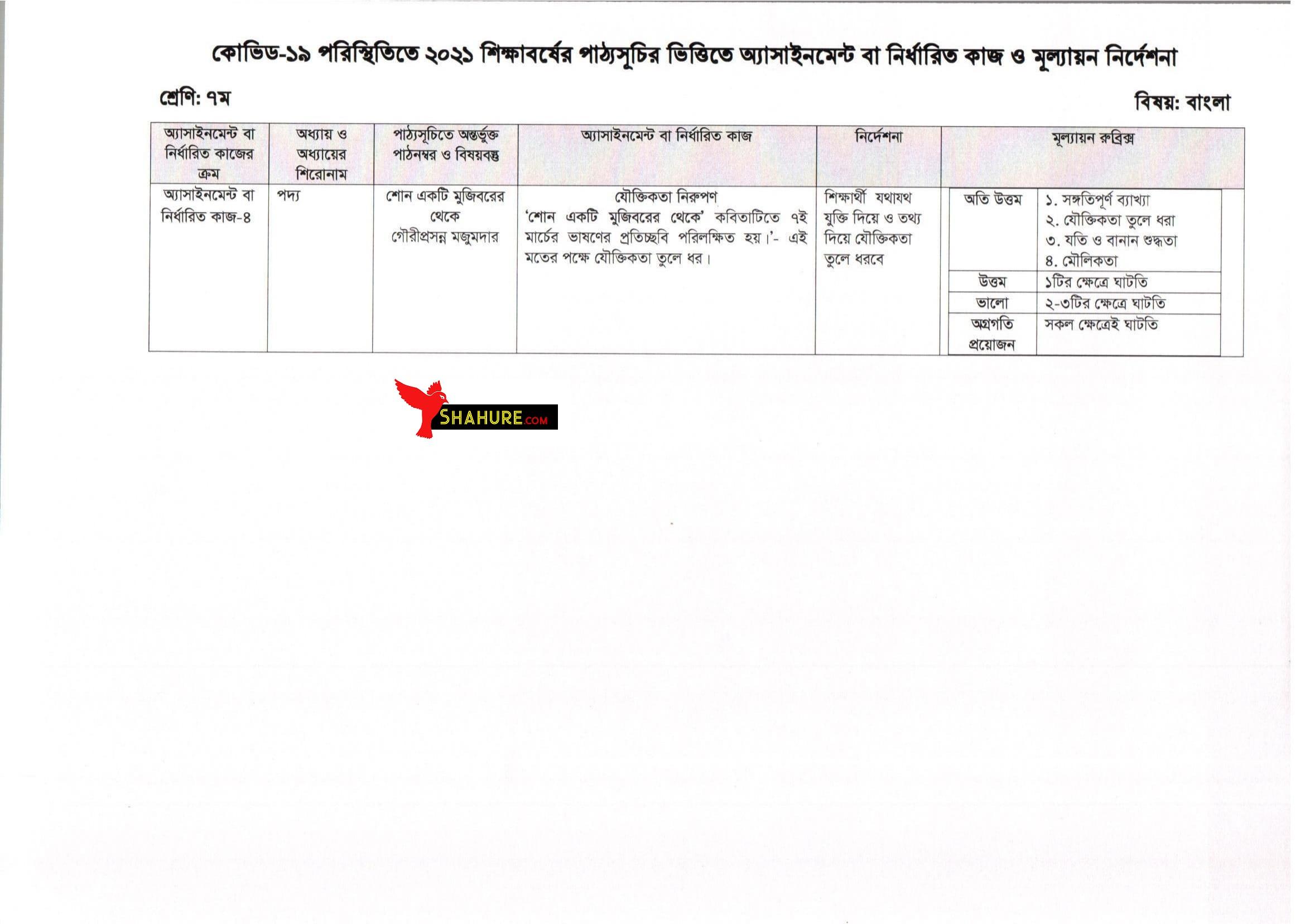 Class 7 Bangla Assignment Answer 13th Week