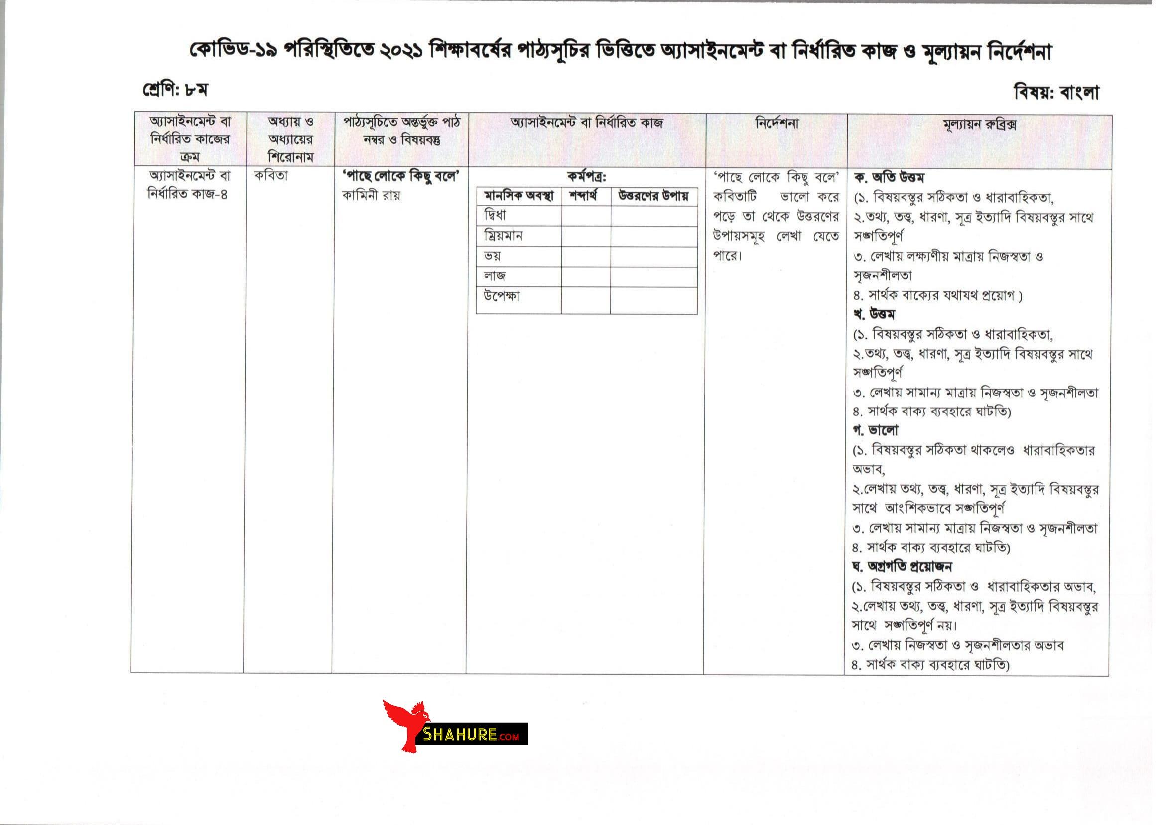Class 8 Bangla Assignment Answer 13th Week