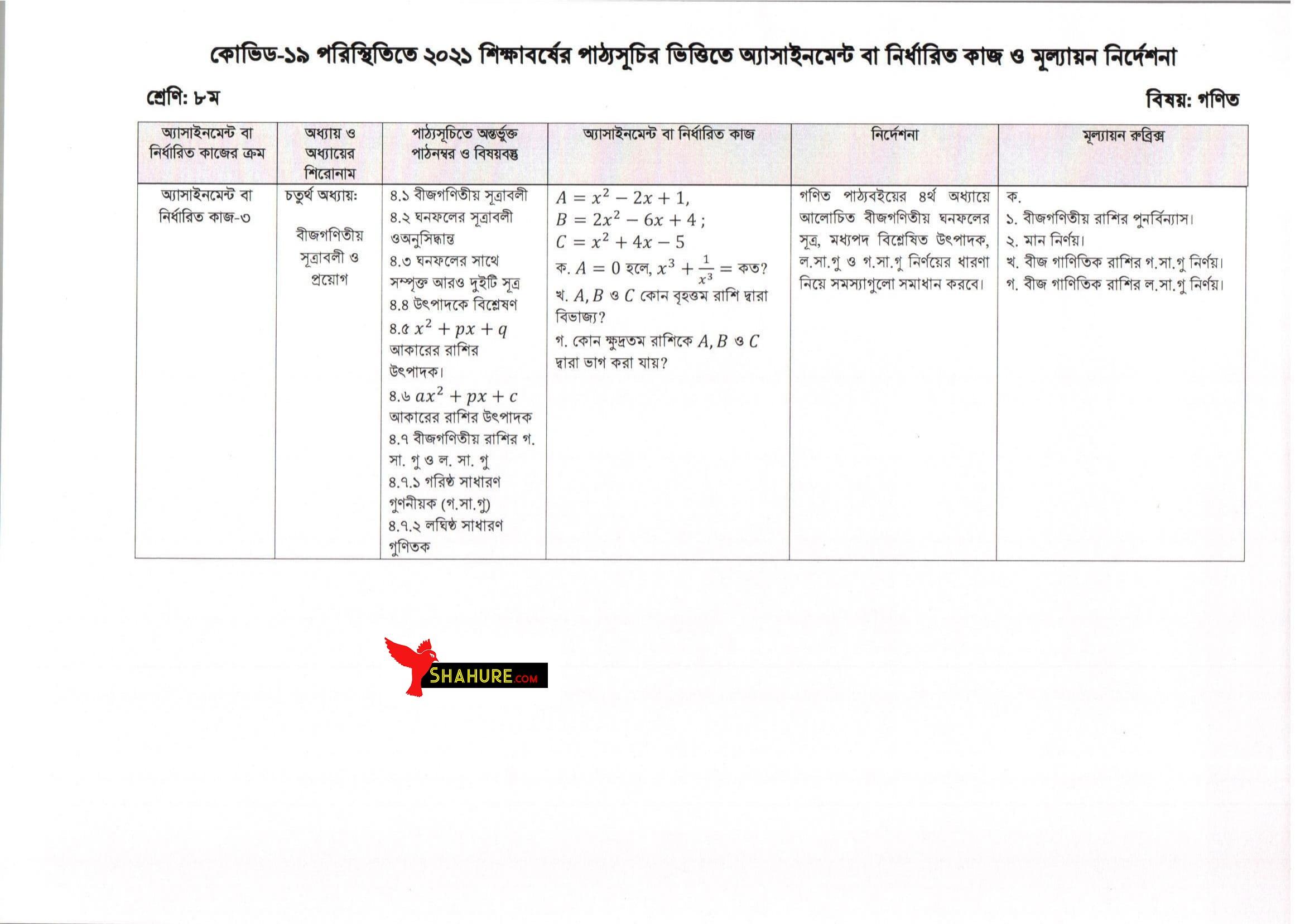 Class 8 Math Assignment Answer 13th Week