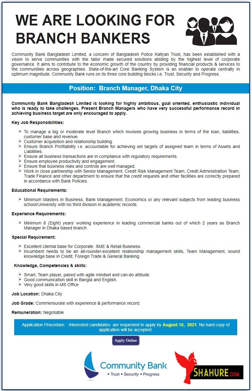 Community Bank Bangladesh Ltd. Jobs circular 2021