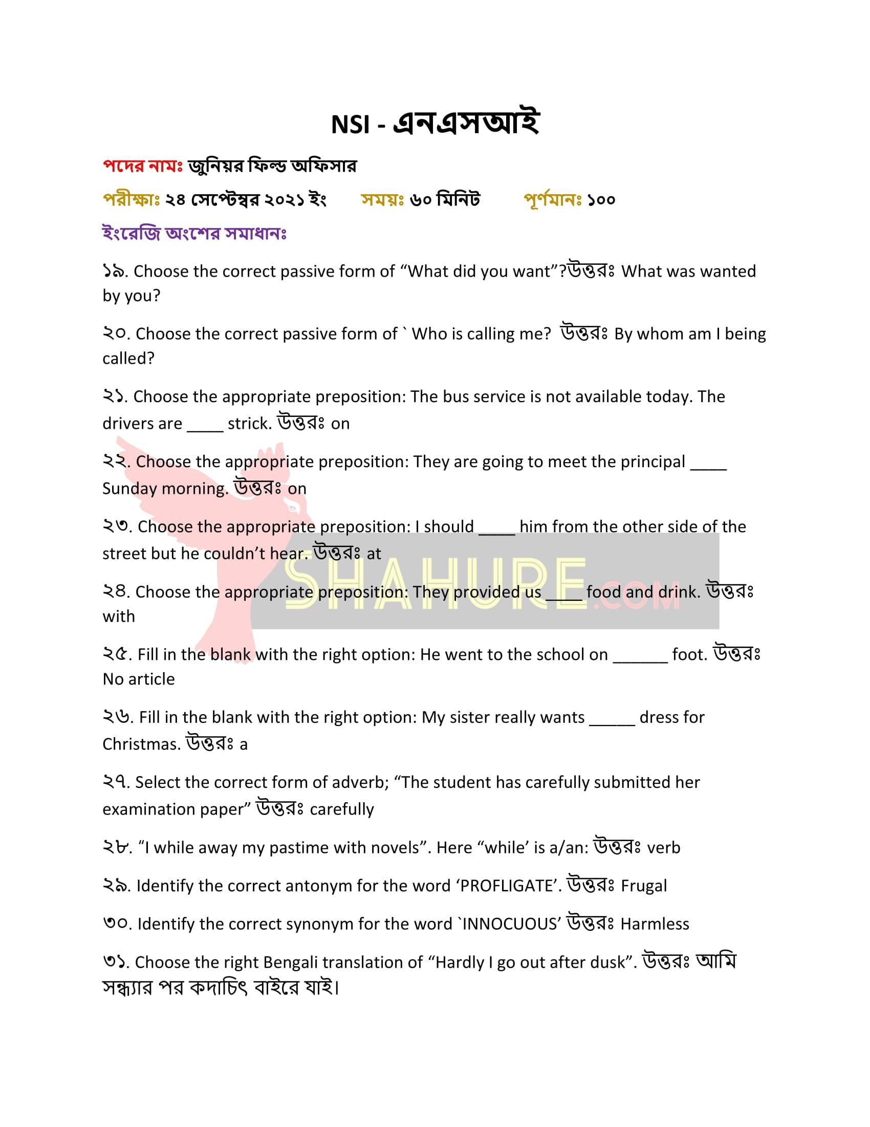 NSI Junior Field Officer Exam Question Solution English