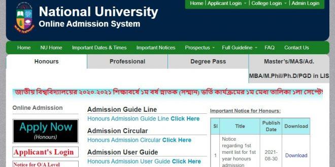 National University Honours Admission Result 2021