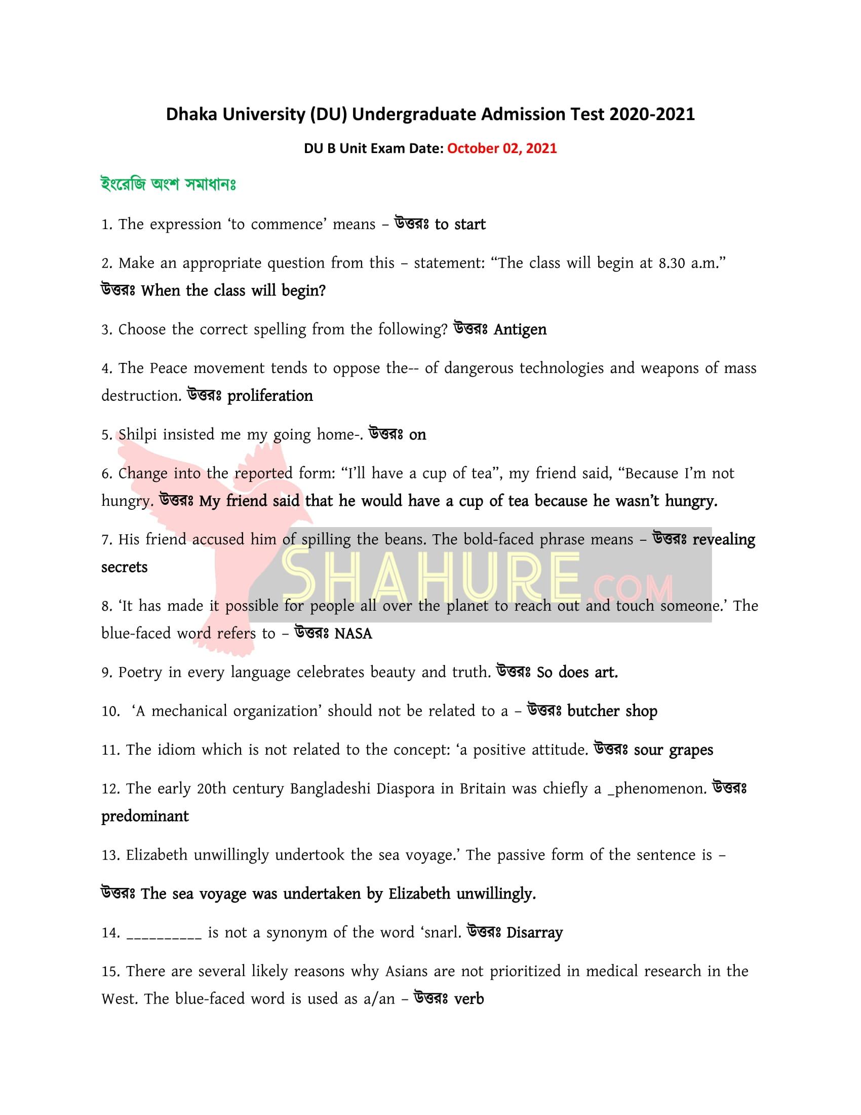 DU B Unit English Part Question Solution 2021