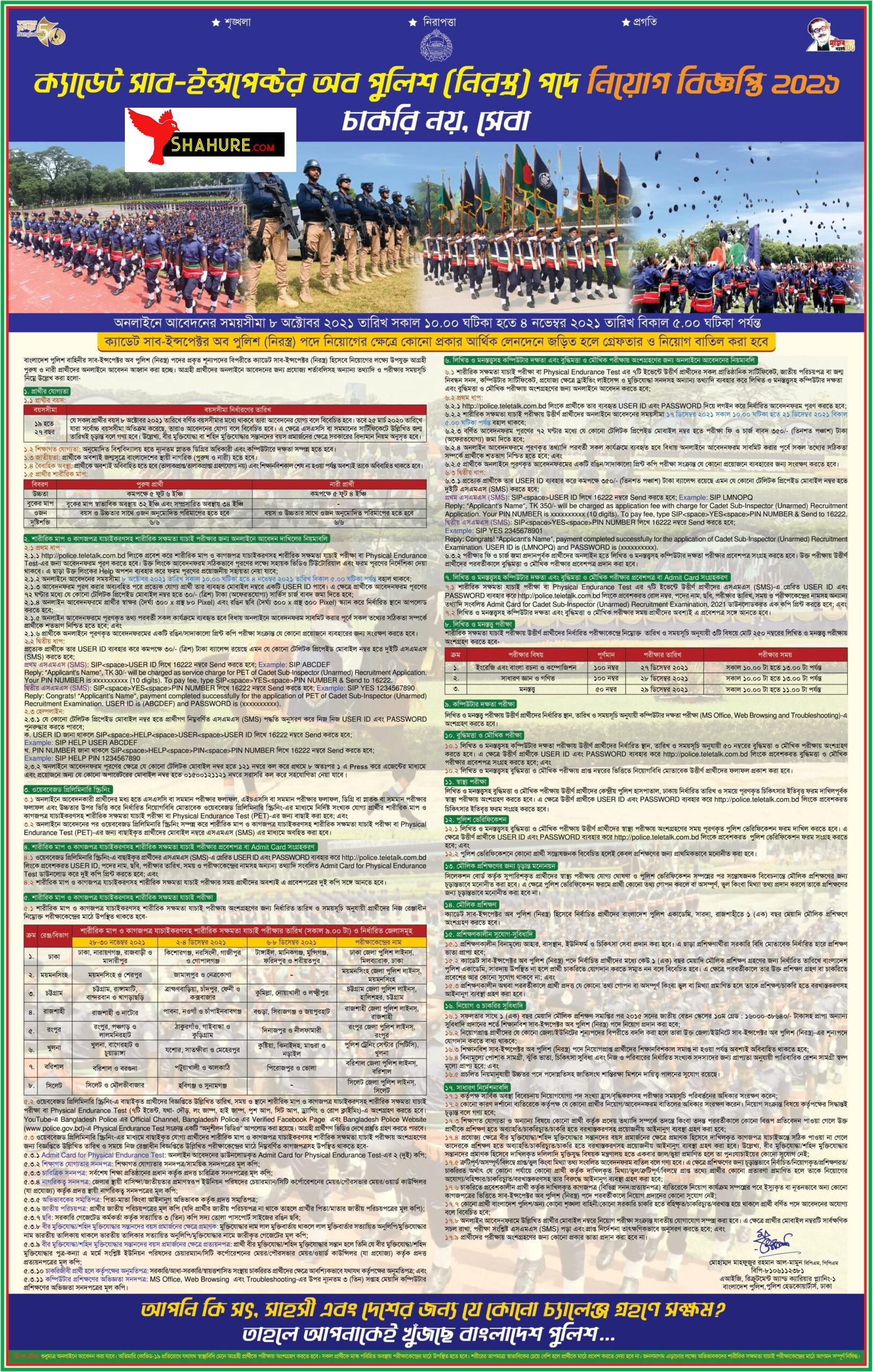 Police SI Job Circular 2021